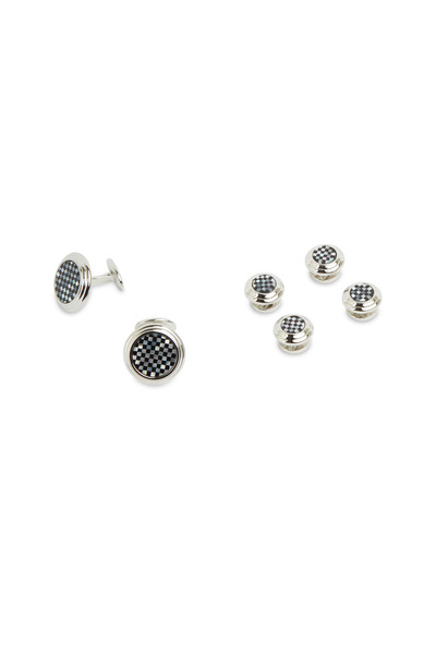 David Donahue - Sterling Silver Onyx & Mother-Of-Pearl Stud Set