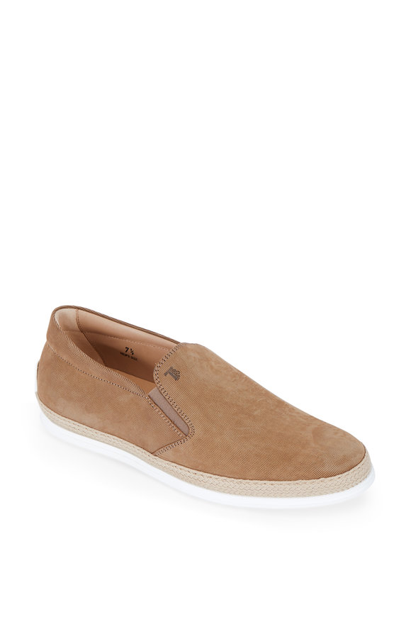 Tod's Medium Brown Suede Espadrille Loafer