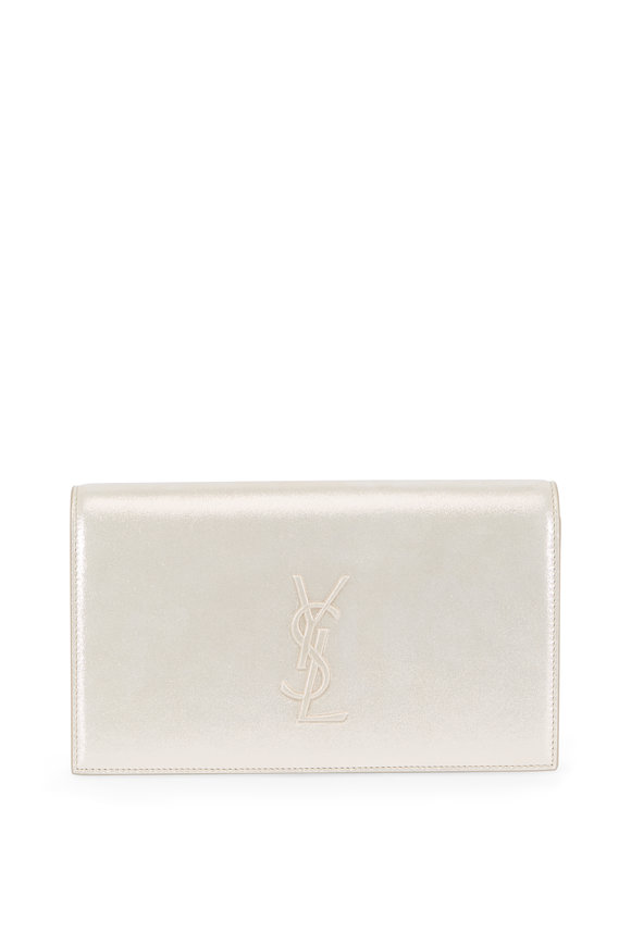 Saint Laurent Kate Champagne Burma Suede Embossed Logo Clutch