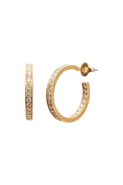 Caroline Ellen - 18K Yellow Gold Diamond Hoops