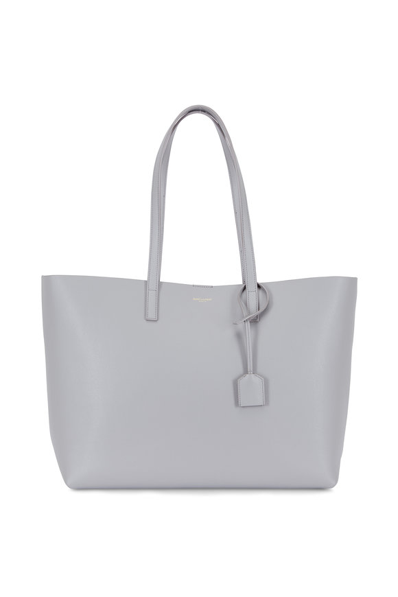 Saint Laurent Light Gray Leather Large Shopper Tote