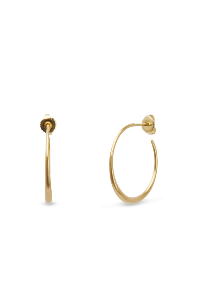 18K Yellow Gold Thin Tapered Hoops