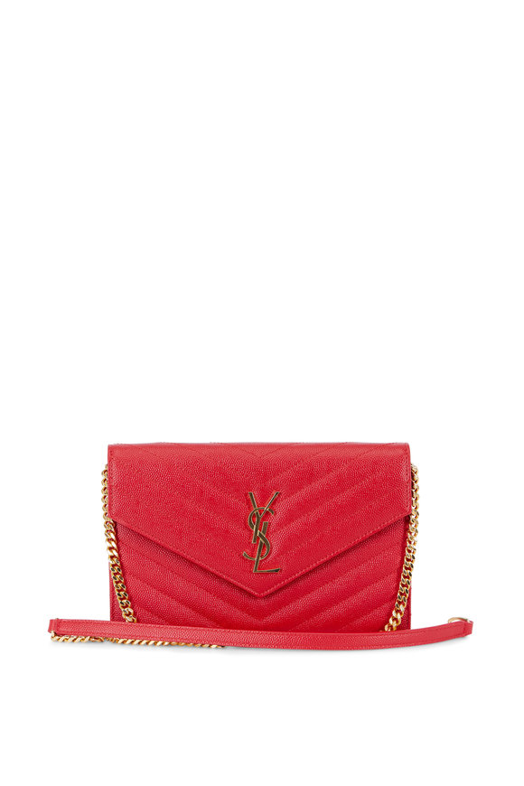 Saint Laurent Monogram Matelassé Red Leather Chain Wallet
