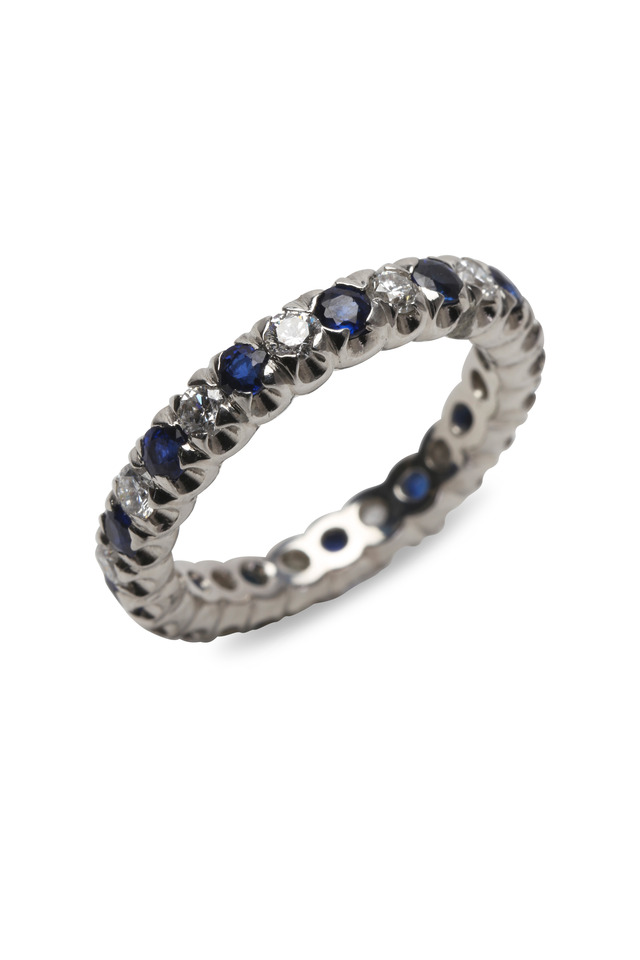 Blue Sapphire Diamond Fishtail Guard Ring