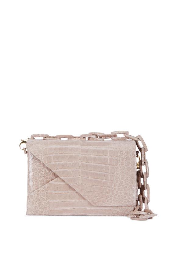 Nancy Gonzalez Taupe Crocodile Chain Shoulder Bag