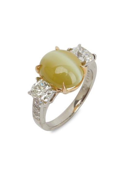 Oscar Heyman - White Diamond Platinum Catseye Ring