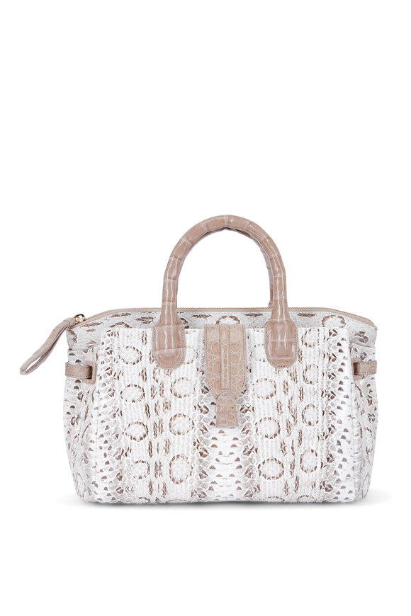 Nancy Gonzalez Christina Natural Snakeskin & Crocodile Satchel