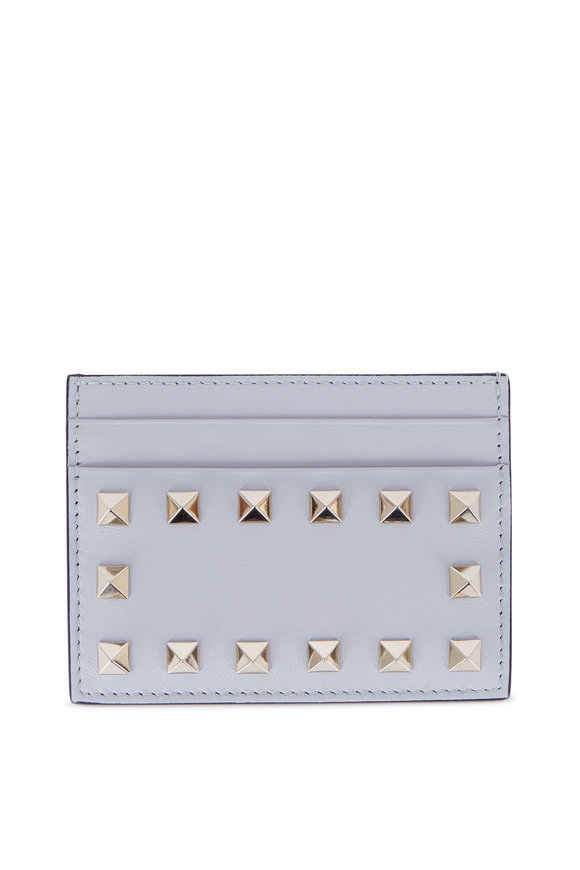 Valentino Rockstud Pastel Gray Card Case