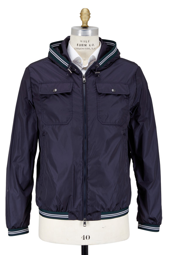 Moncler Jean Claude Navy Blue Nylon Hooded Jacket