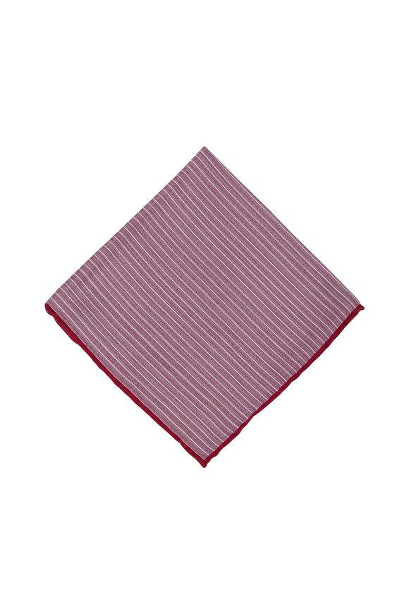 Brunello Cucinelli Red Striped Silk Pocket Square