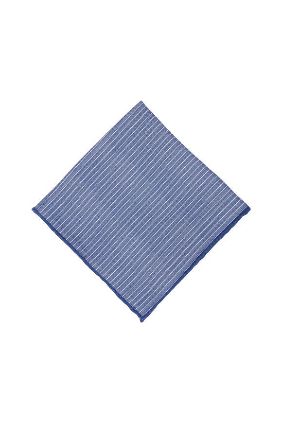 Brunello Cucinelli Blue Striped Silk Pocket Square