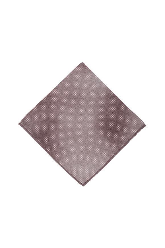 Brunello Cucinelli Brown Polka Dot Silk Pocket Square