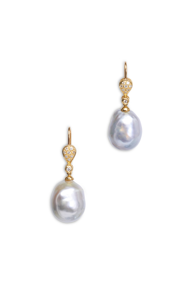 Yellow Gold Silver Baroque Tahitian Pearl Earrings