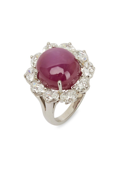 Oscar Heyman - Platinum Star Ruby White Diamond Ring