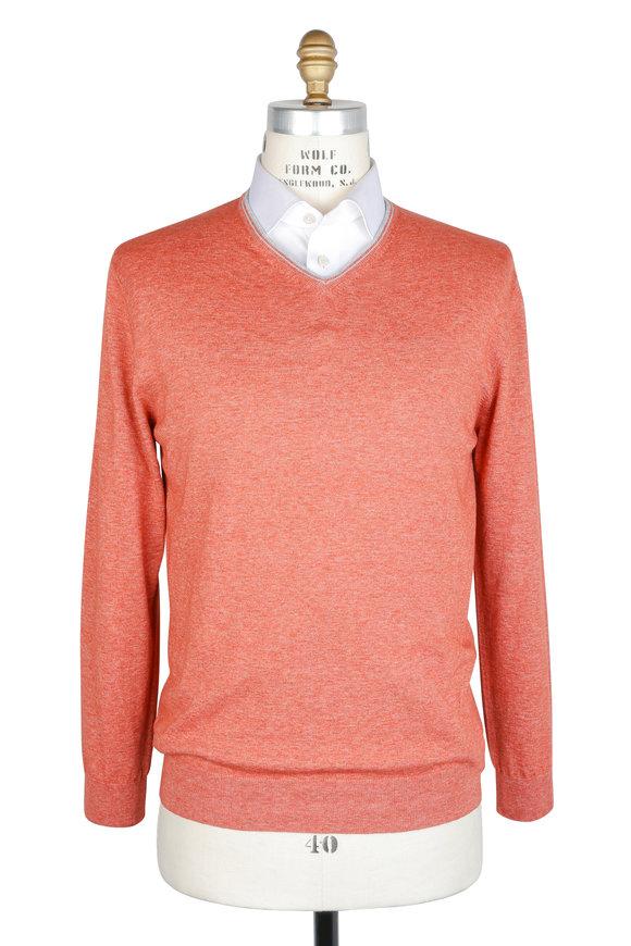 Maurizio Baldassari Coral Melange Cotton V-Neck Sweater