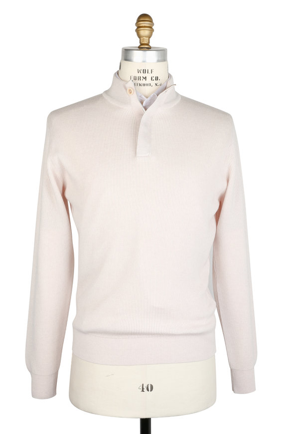 Peter Millar Ivory Ribbed Wool & Cashmere Quarter-Zip Pullover