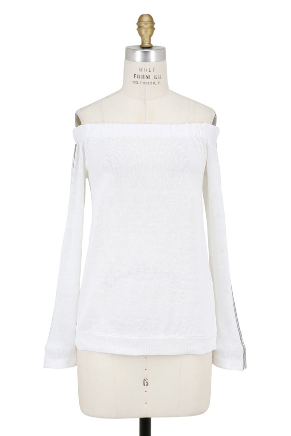 Brunello Cucinelli White Off-The-Shoulder Tonal Pailette Sweater