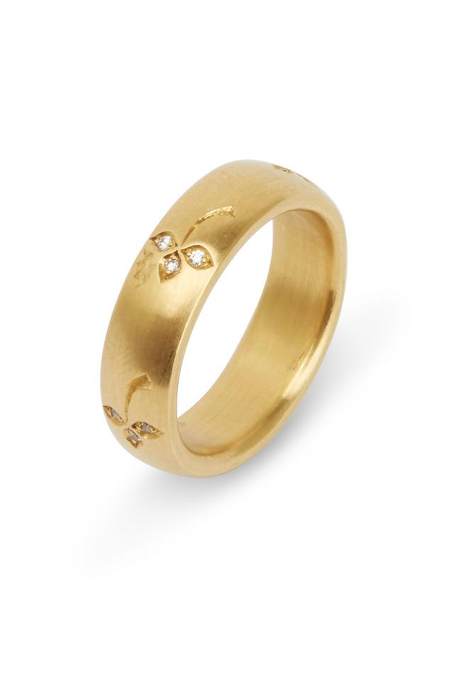 Yellow Gold White Diamond Flower Ring
