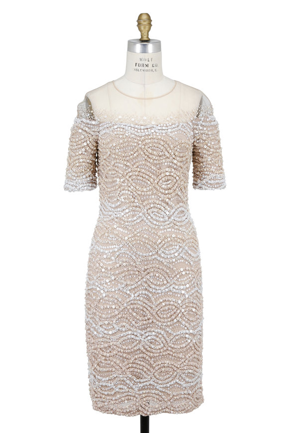 Pamella Roland Champagne Lace Embroidered Short Sleeve Dress