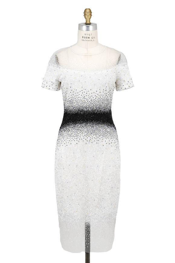 Pamella Roland White & Black Confetti Embellished Dress