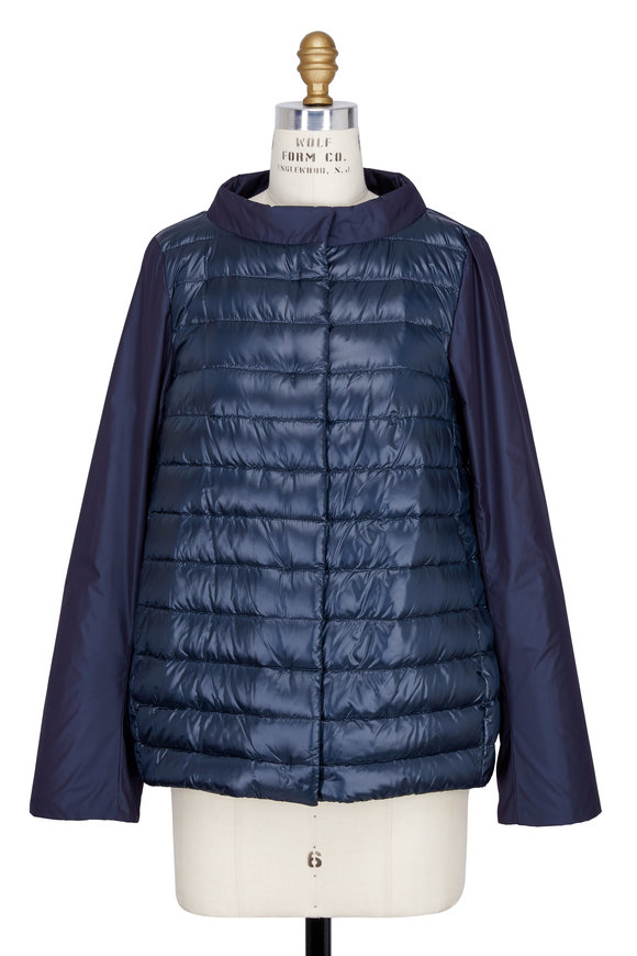 Herno Navy Blue Quilted Puffer Front Cocoon Jacket