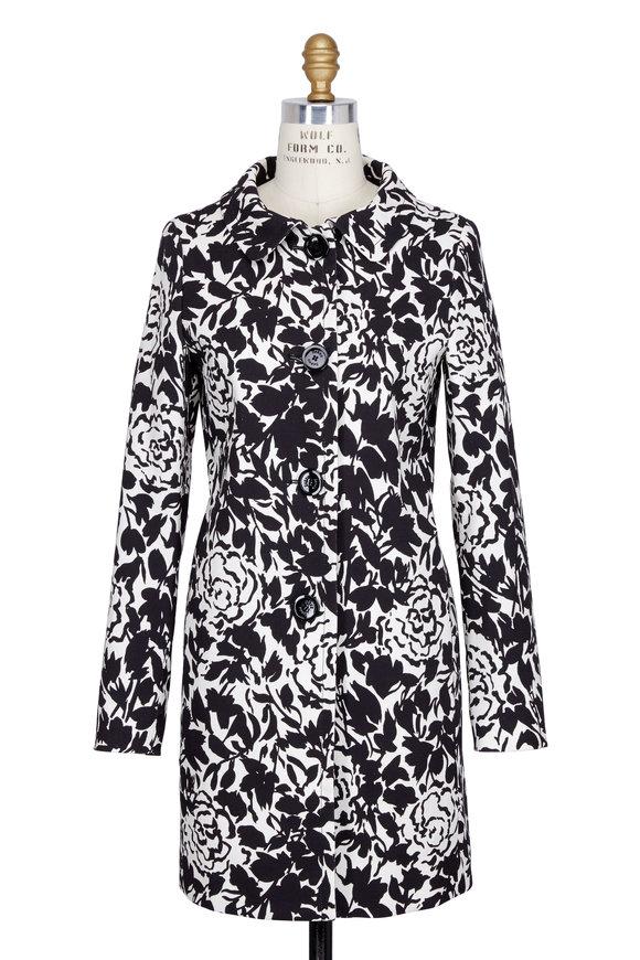 Herno Black & White Floral Topper Coat