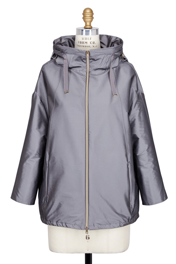 Herno Silver Stretch Nylon Three-Quarter Sleeve Jacket