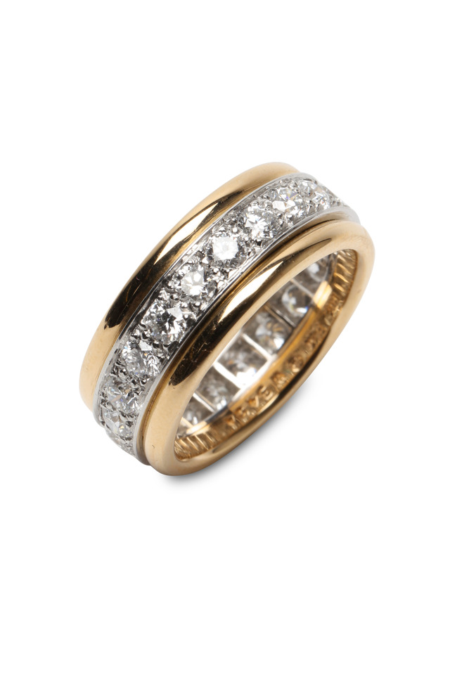 Yellow Gold & Platinum Diamond Bead-Set Guard Ring