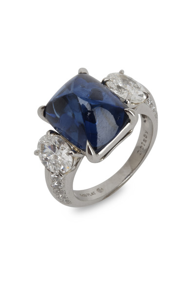 Oscar Heyman - Platinum Blue Sapphire White Diamond Ring