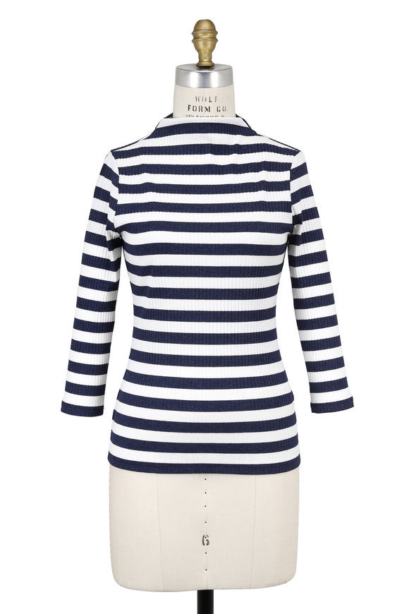 Donna Degnan Navy Blue & White Striped Mock Neck Top