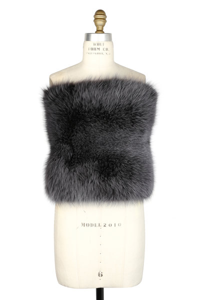 Brandon Sun - Granite Dyed Arctic Marble Fox Knit Wrap