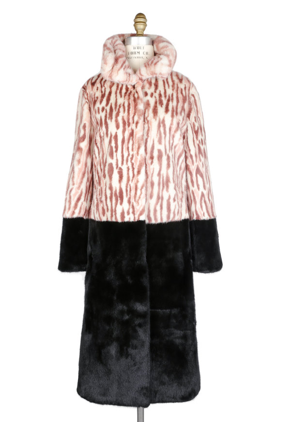 Brandon Sun Dusty Rose Printed Mink Coat With Dyed Mink Trim