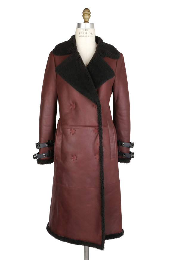 Brandon Sun Burgundy & Gray Merino Curly Nappa Belted Coat