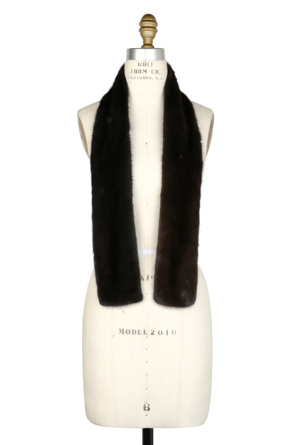 Brandon Sun Dark Gray Dyed Mink Scarf