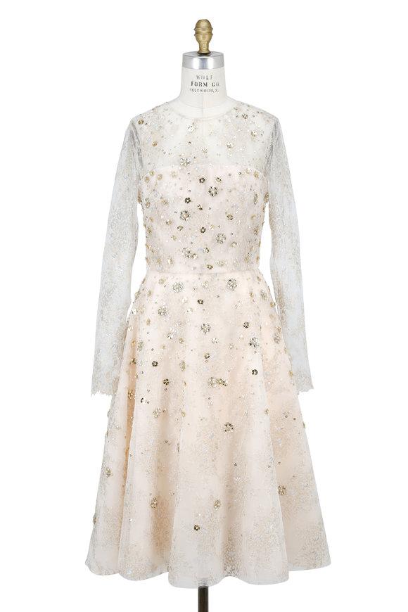Oscar de la Renta Champagne Beaded Long Sleeve Cocktail Dress