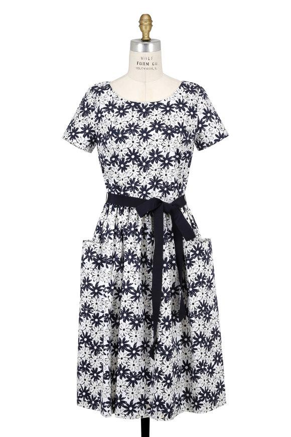 Carolina Herrera Navy & White Poplin Daisy Print Belted Dress