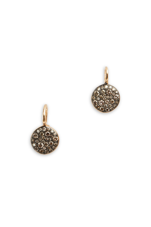 Pomellato Sabbia Pink Gold Brown Diamond Disc Earrings