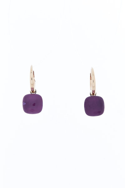 Pomellato - Nudo 18K Rose & White Gold Amethyst Drop Earrings