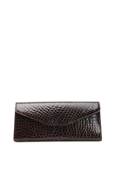 Olop - Brown Alligator Envelope Clutch