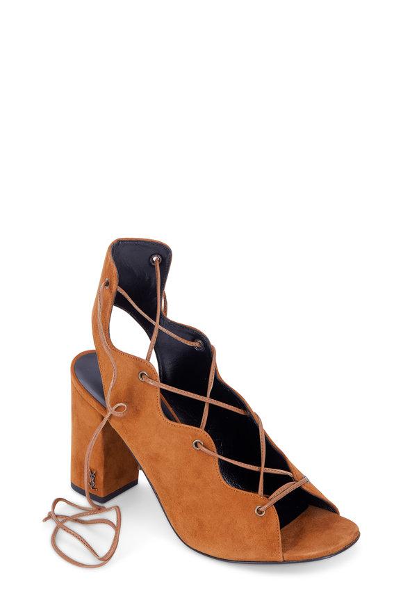 Saint Laurent Luggage Suede Lace-Up City Sandal, 90mm