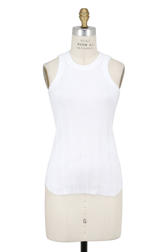 Sacai White Ribbed Knit Laced Racerback Tank