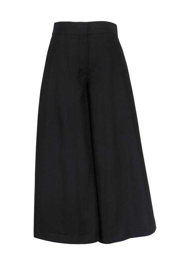 Valentino Black Double Silk Wide Leg Gaucho Pant