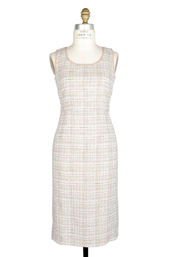 Agnona Taupe Tweed Sleeveless Dress