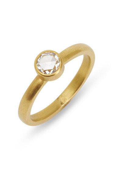 Caroline Ellen - Yellow Gold Round White Diamond Ring