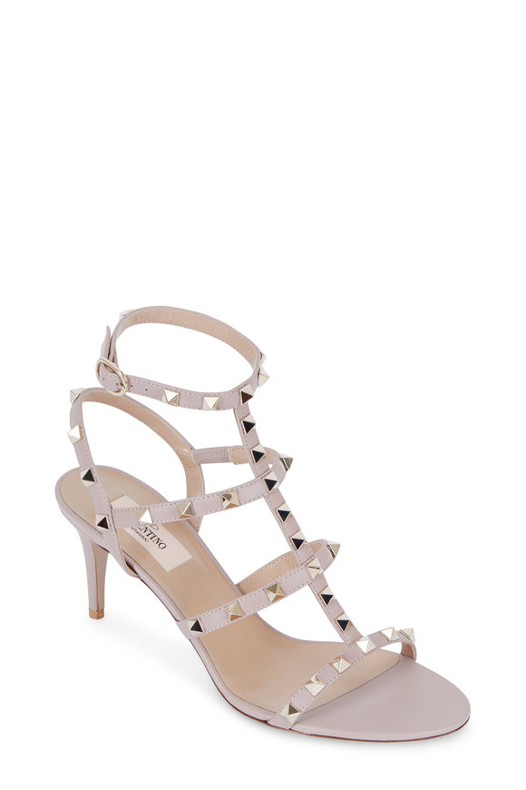 Valentino Rockstud Nude Leather Cage Sandal, 75mm