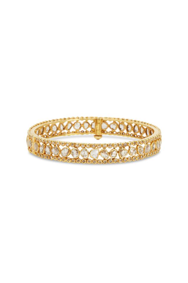 Yellow Gold White Diamond Bangle Bracelet