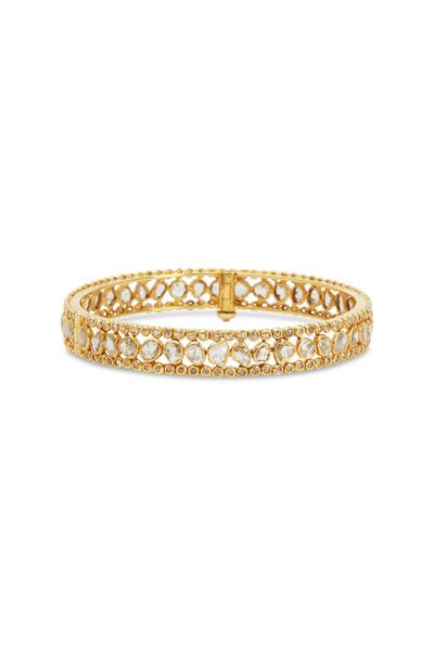 Loren Jewels - Yellow Gold White Diamond Bangle Bracelet