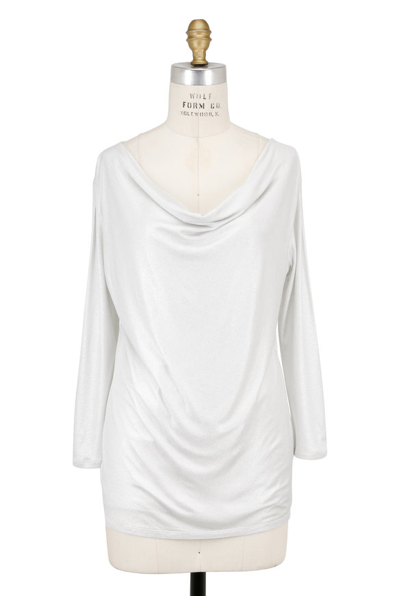 Majestic White Metallic Stretch Jersey Cowl Neck Top