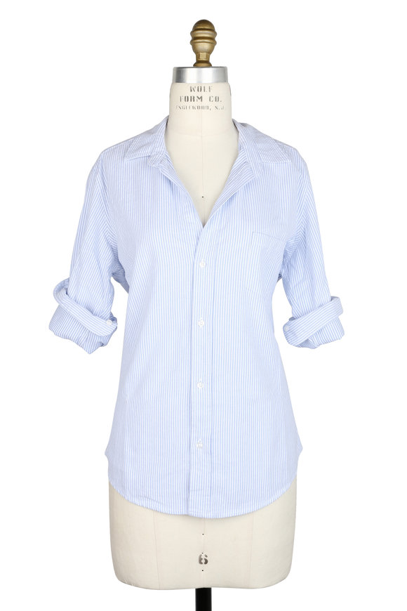 Frank & Eileen Barry Blue & White Striped Button Down
