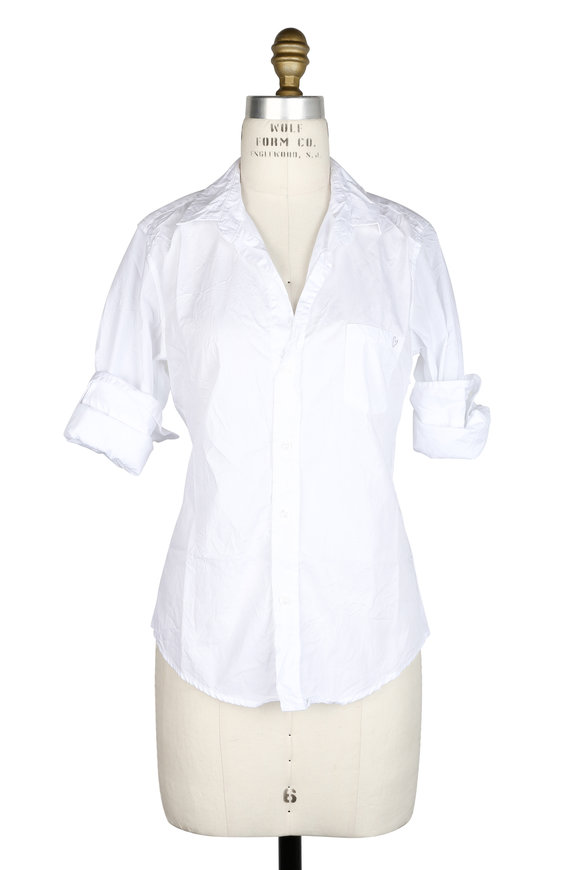 Frank & Eileen Barry White Crinkled Cotton Heart Button Down